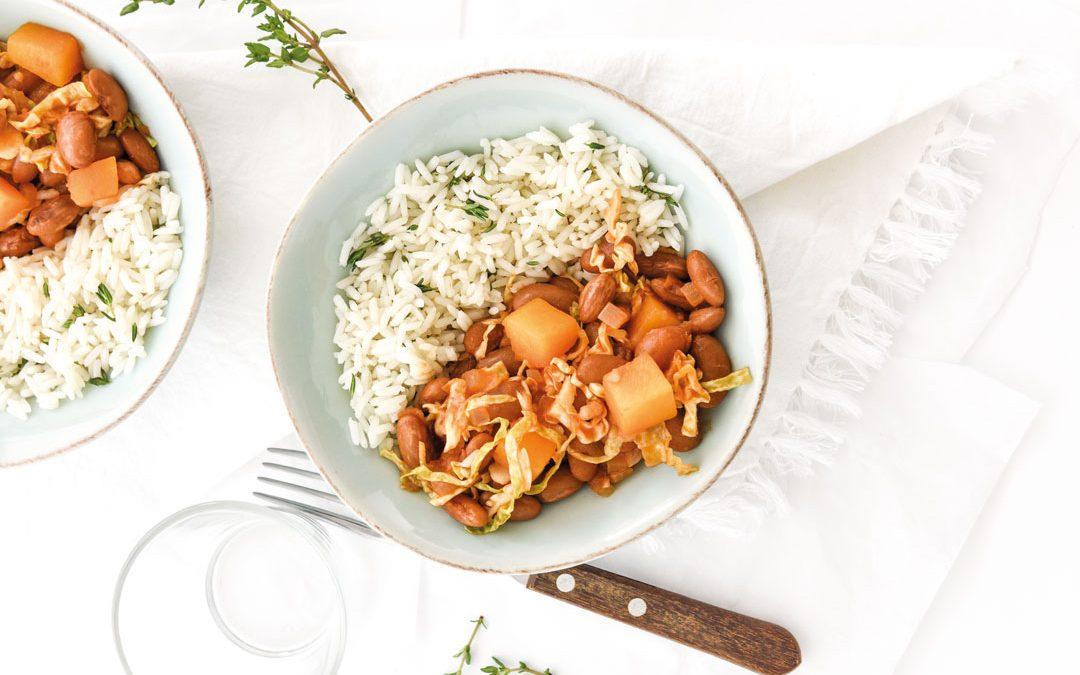 Feijoada de abóbora com arroz de tomilho