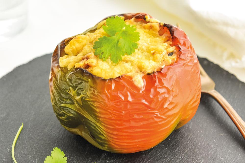 Pimentos recheados com arroz de atum e sésamo