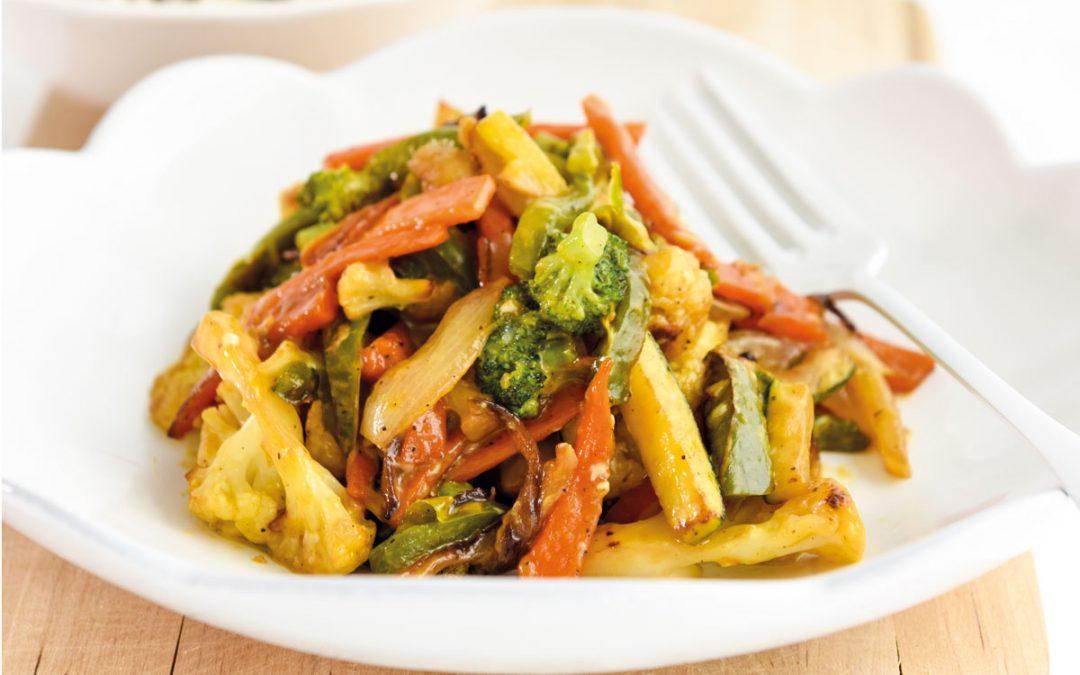 Fricassé de legumes com arroz selvagem
